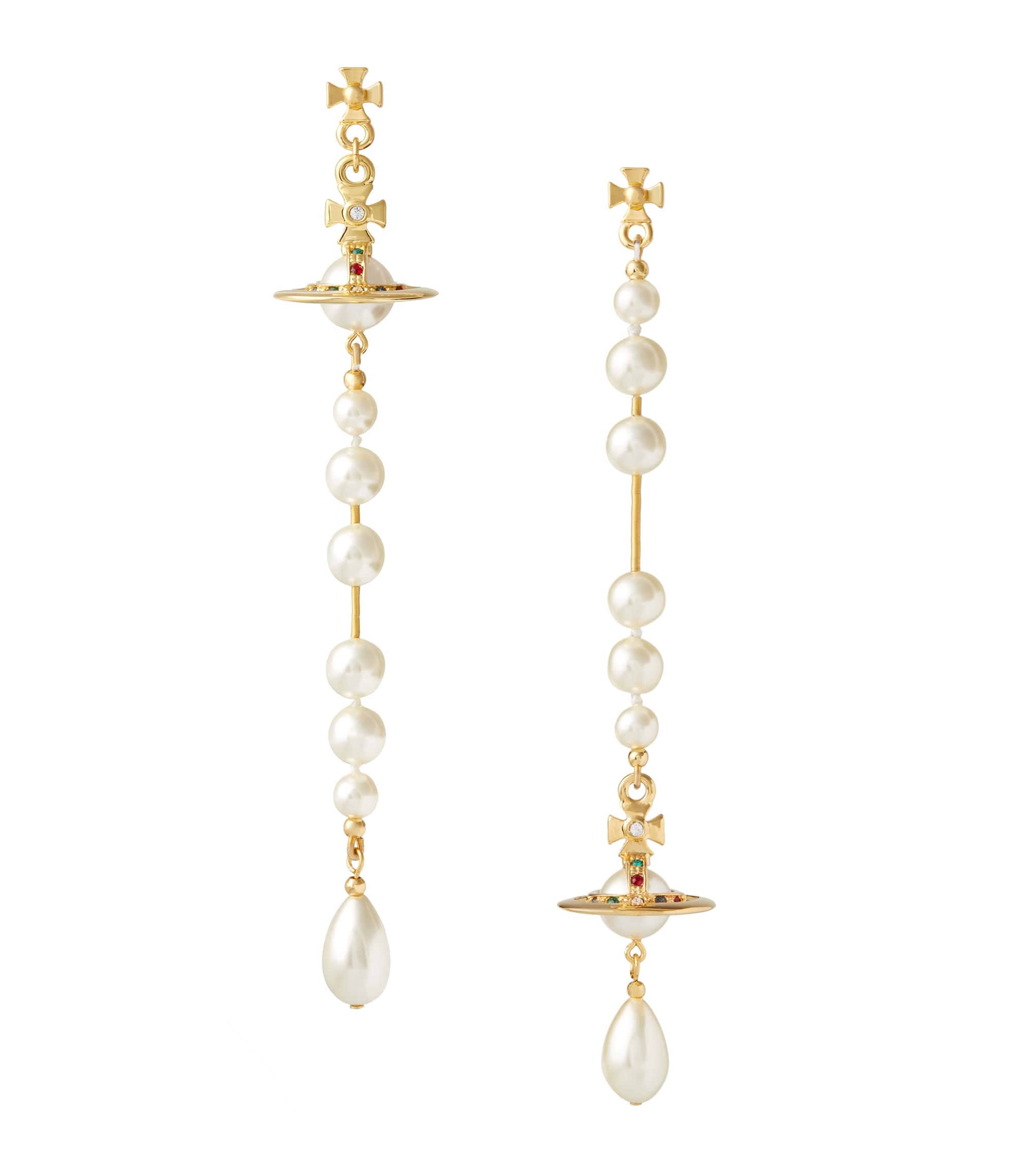 Vivienne Westwood Broken Pearl Earrings Gold