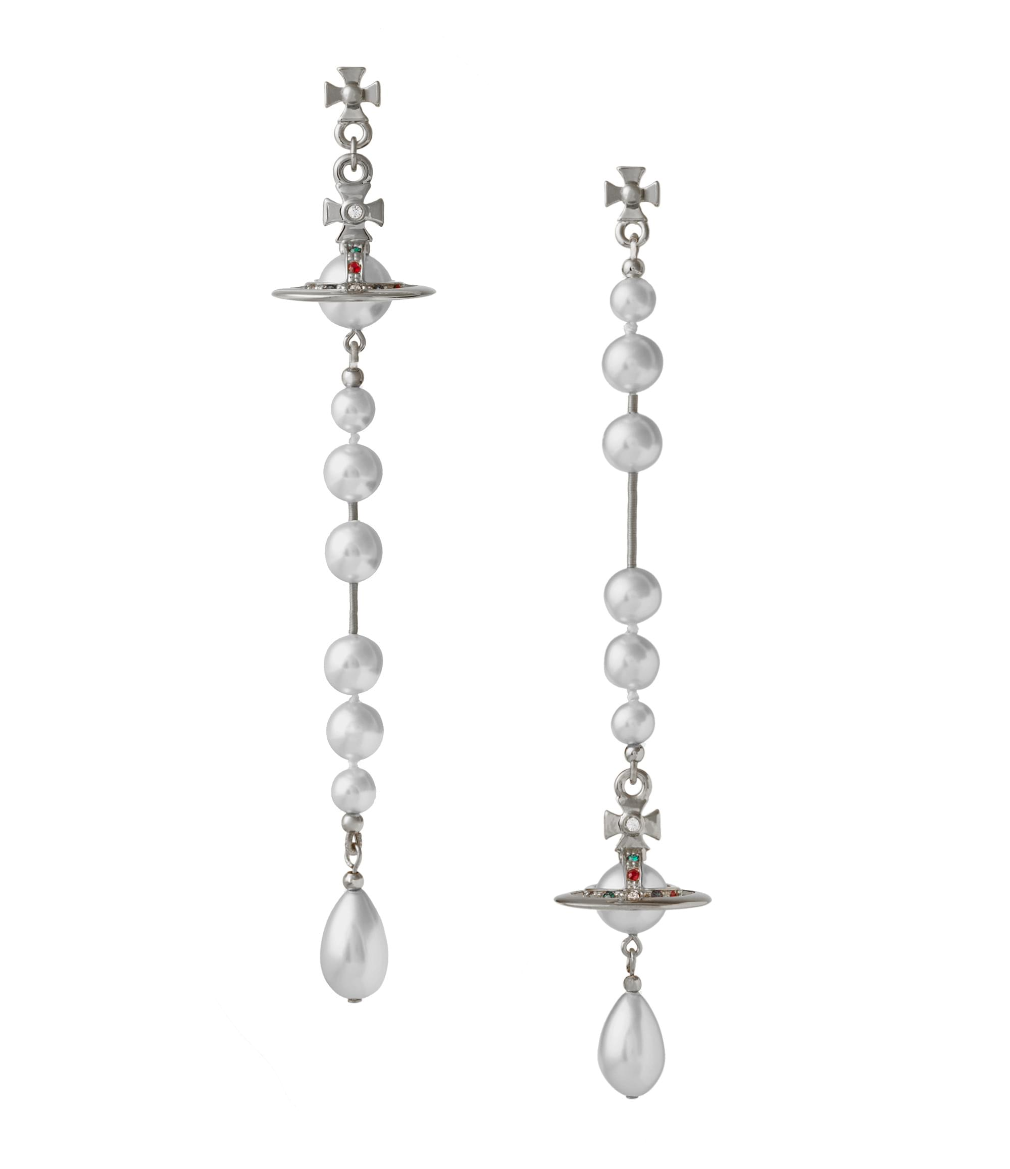 Vivienne Westwood Broken Pearl Earrings Silver