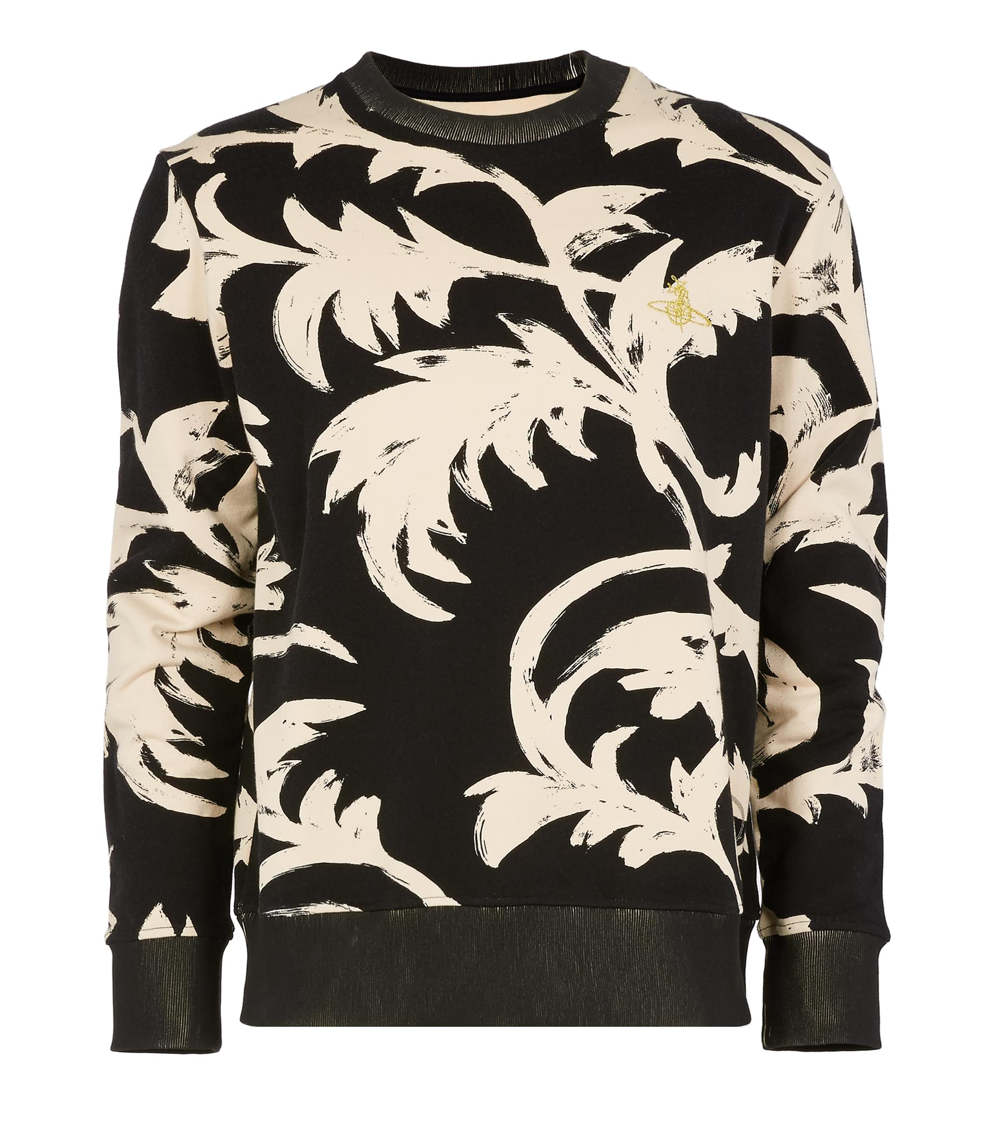 Vivienne Westwood Classic Round Neck Sweater Black Print Leaves