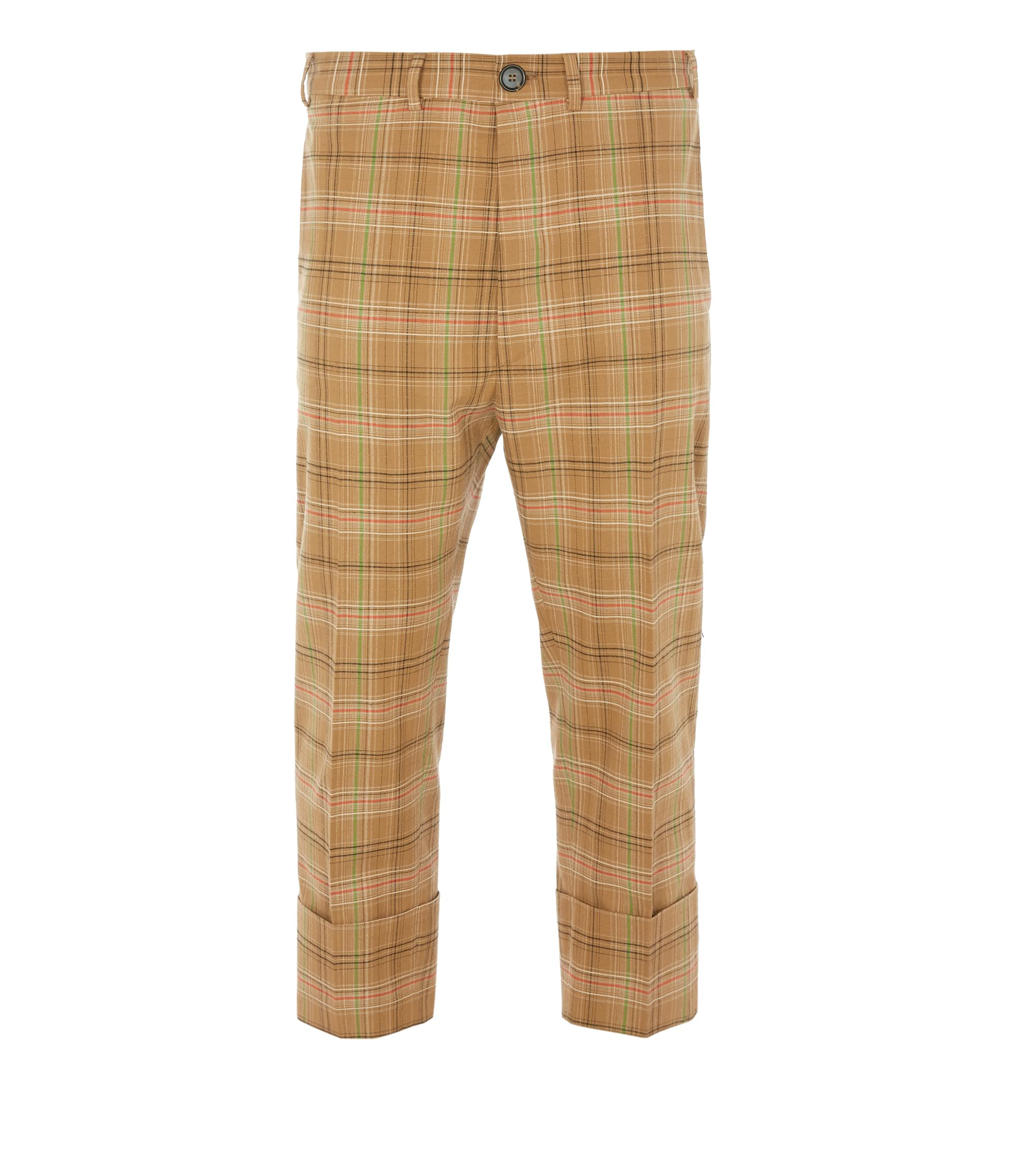 Vivienne Westwood Cropped James Bond Trousers Camel Check