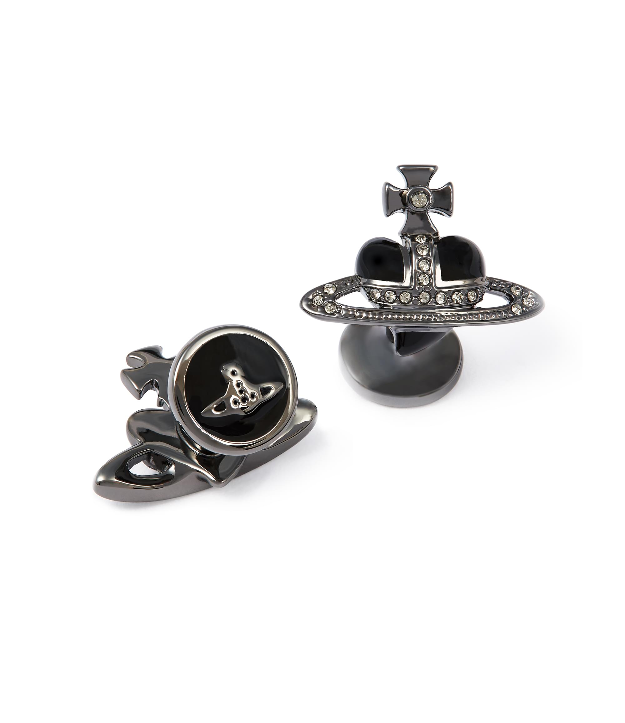 Vivienne Westwood Diamante Black Heart Cufflinks