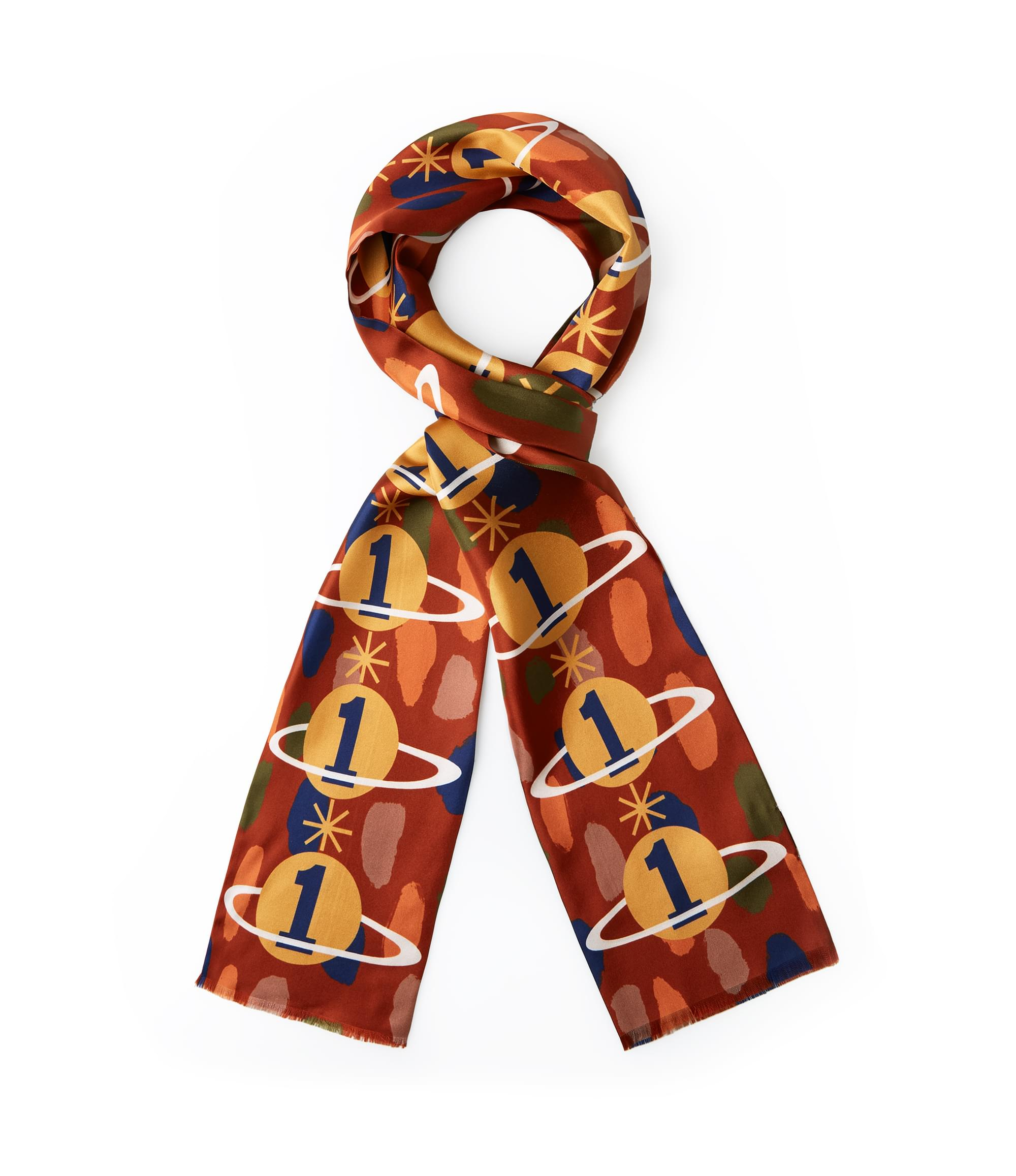 Vivienne Westwood Gaia the Only One Double Scarf Brick Red