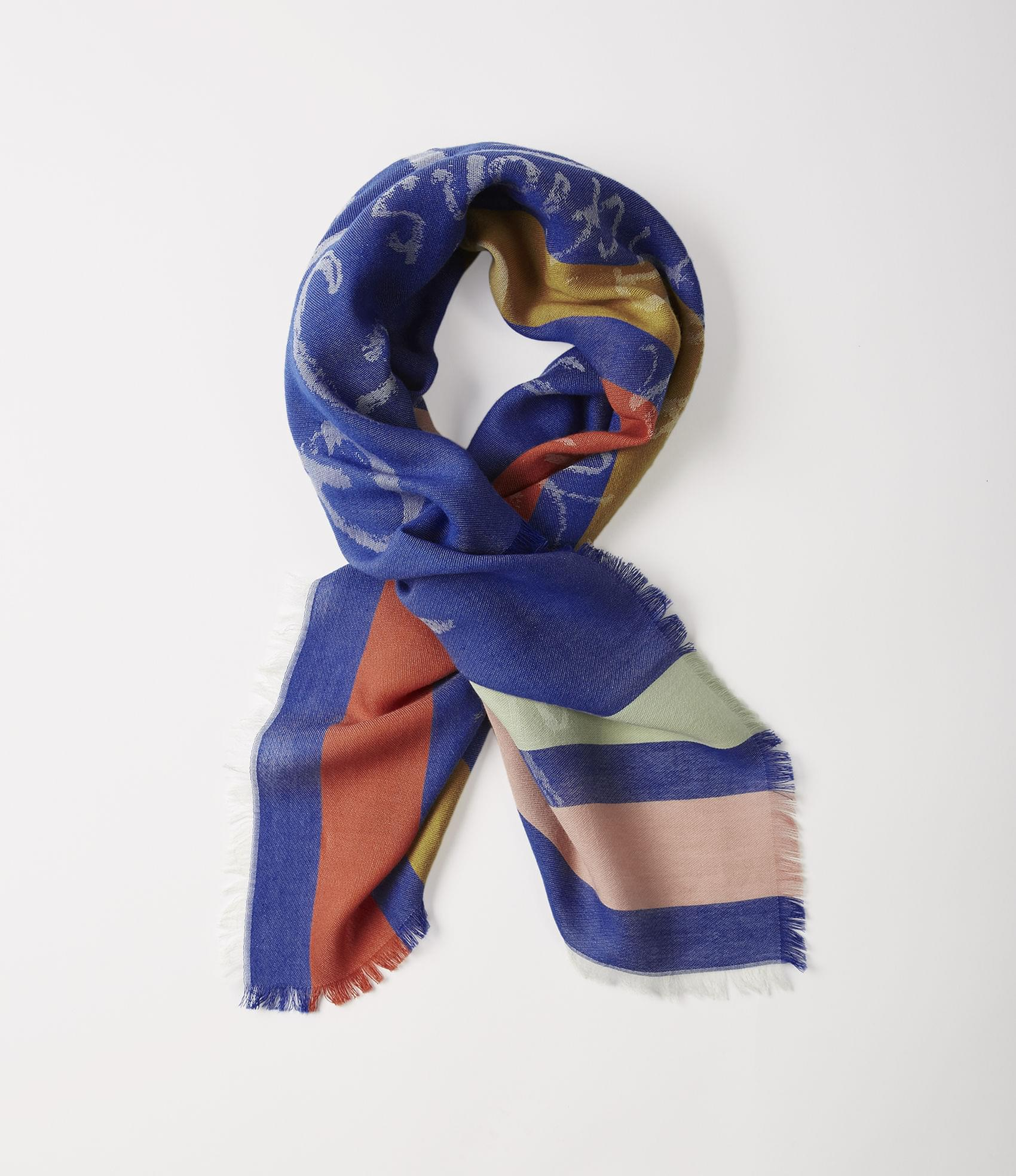 Vivienne Westwood MIRROR THE WORLD SQUARE FOULARD BLUE