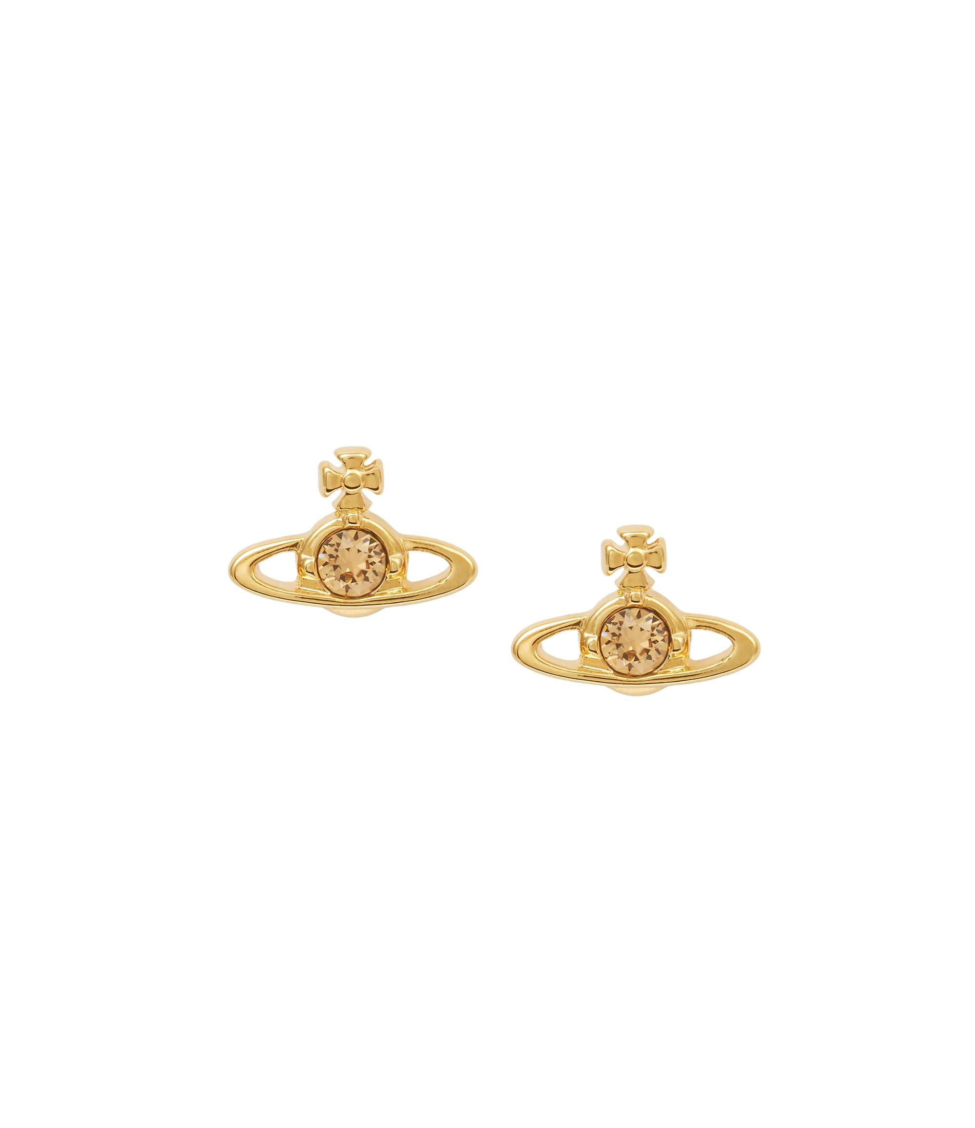 Vivienne Westwood Nano Solitaire Earrings Gold\/Light Topaz