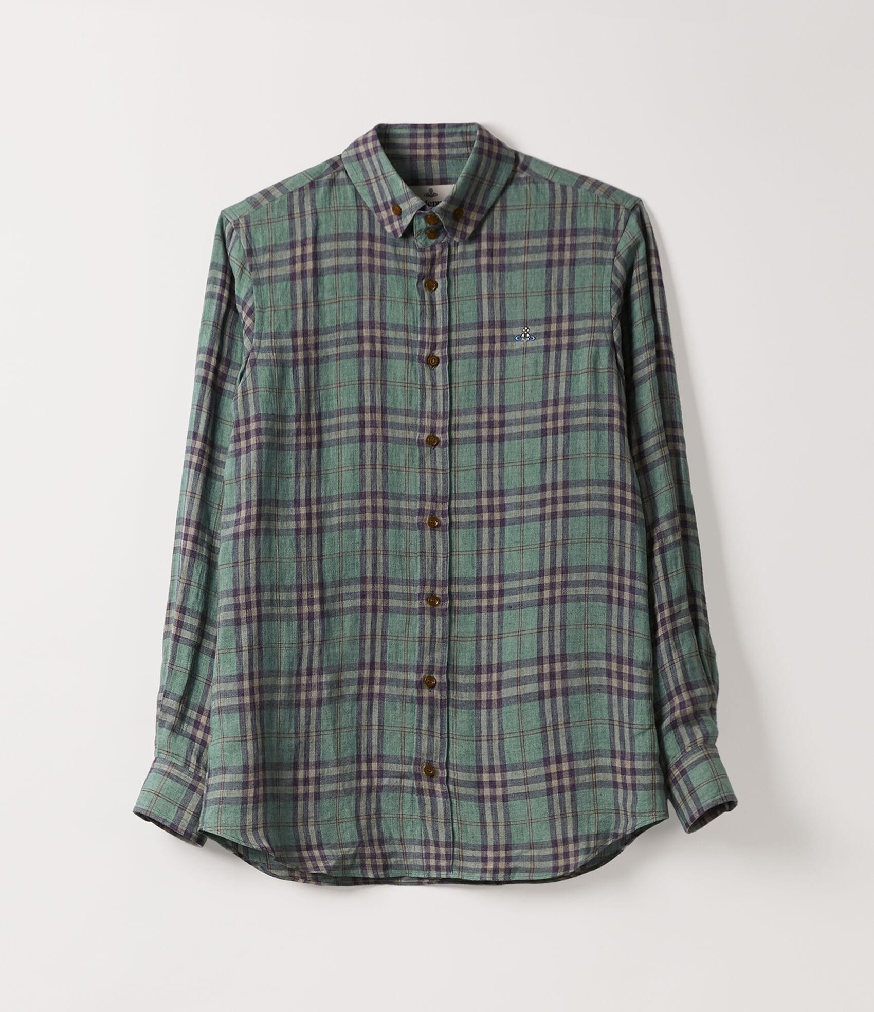 Vivienne Westwood TWO BUTTON KRALL SHIRT EMERALD CHECK