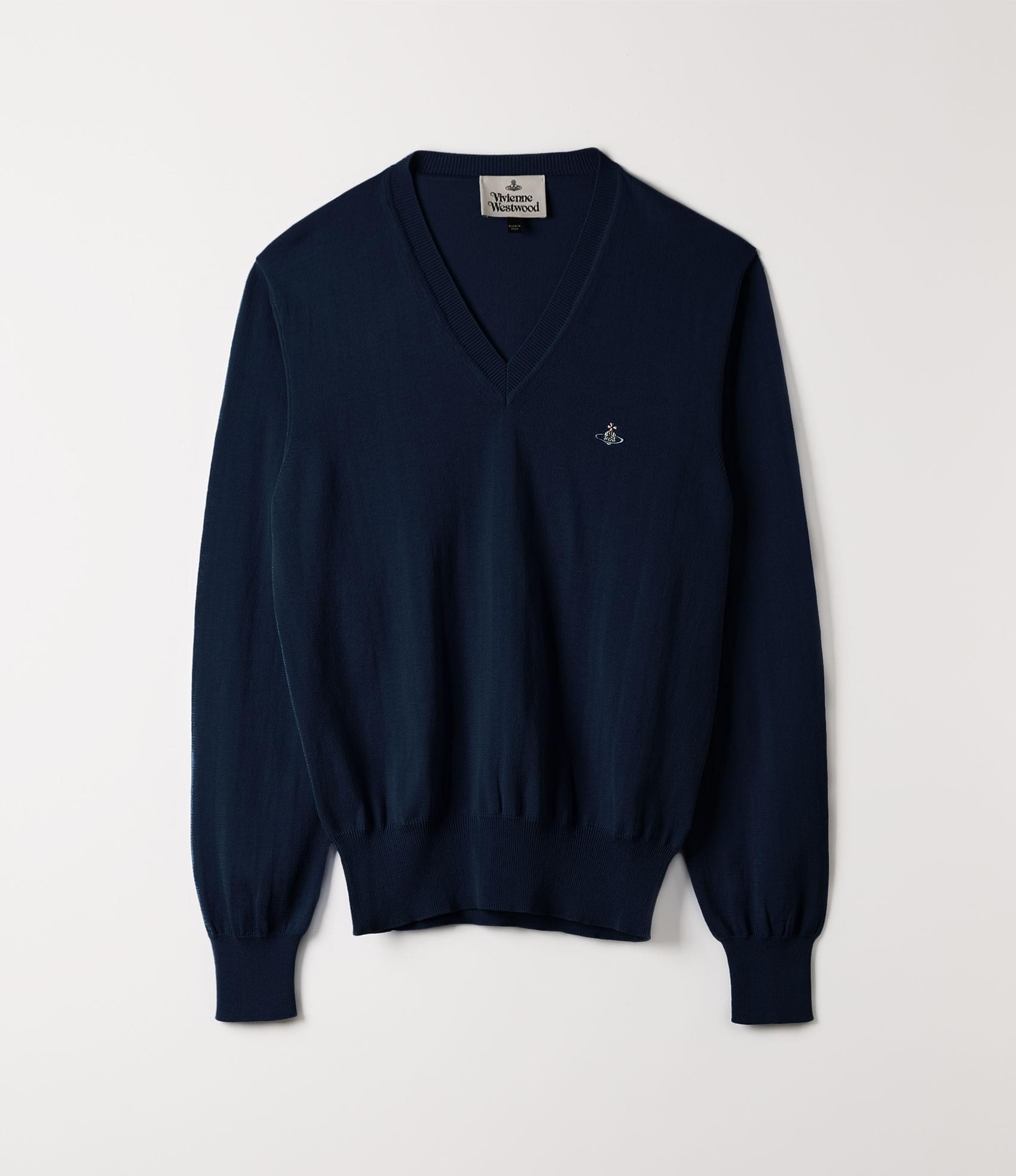 Vivienne Westwood V-NECK KNIT BLUE NAVY