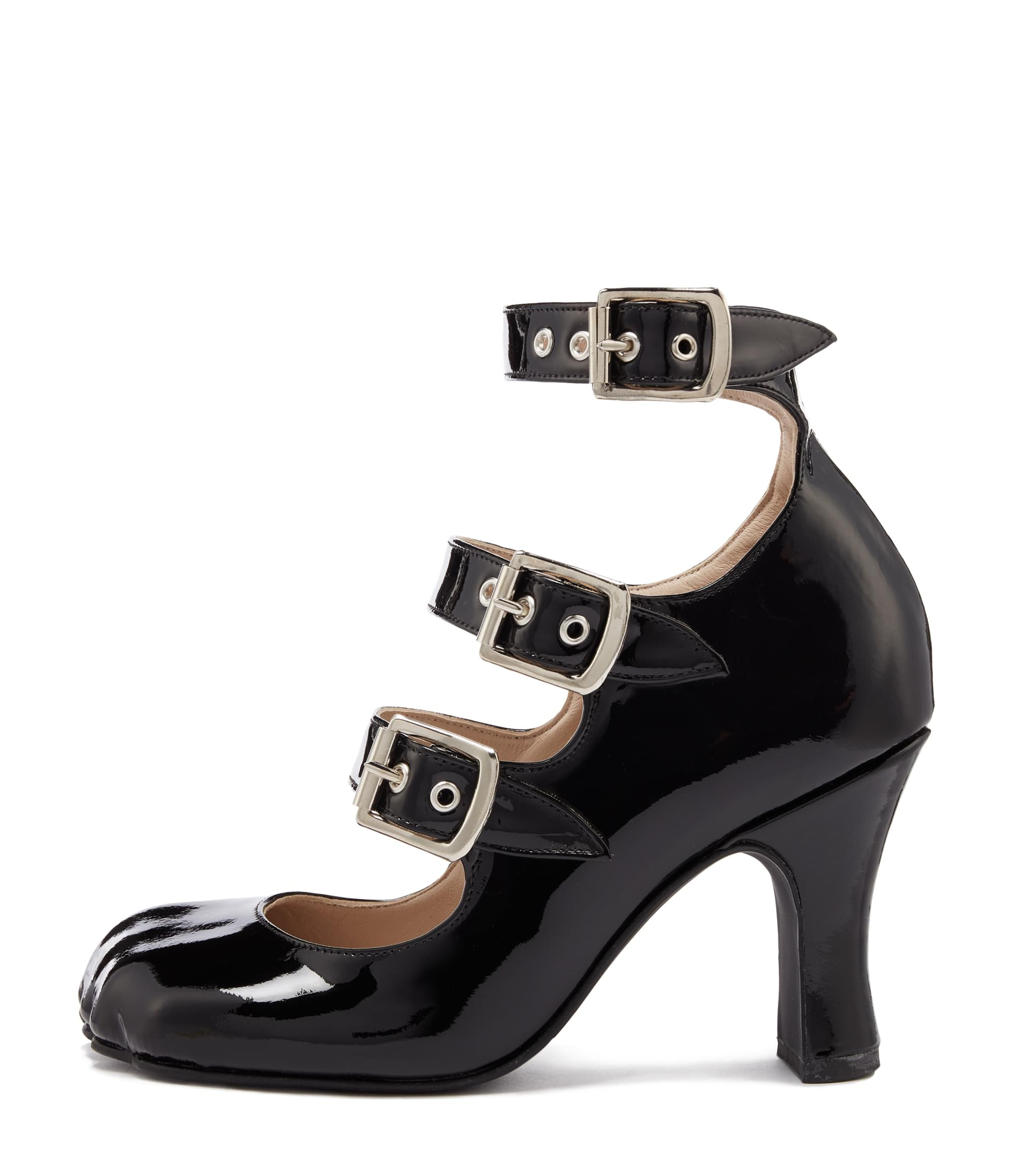 Vivienne Westwood Animal Toe 3 Strap Black Patent