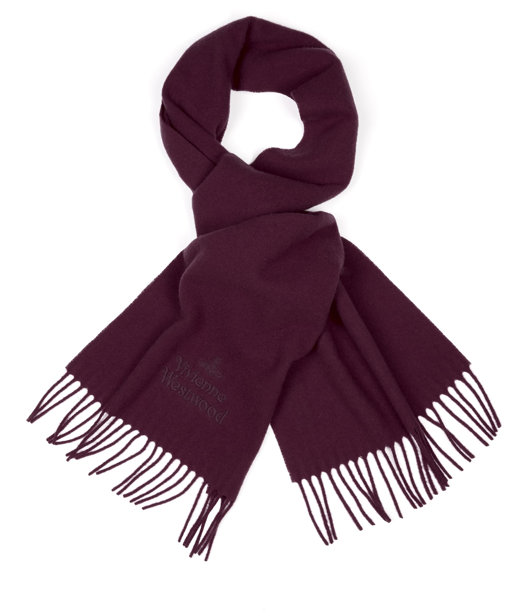 Vivienne Westwood Classic Embroidered Scarf Wine