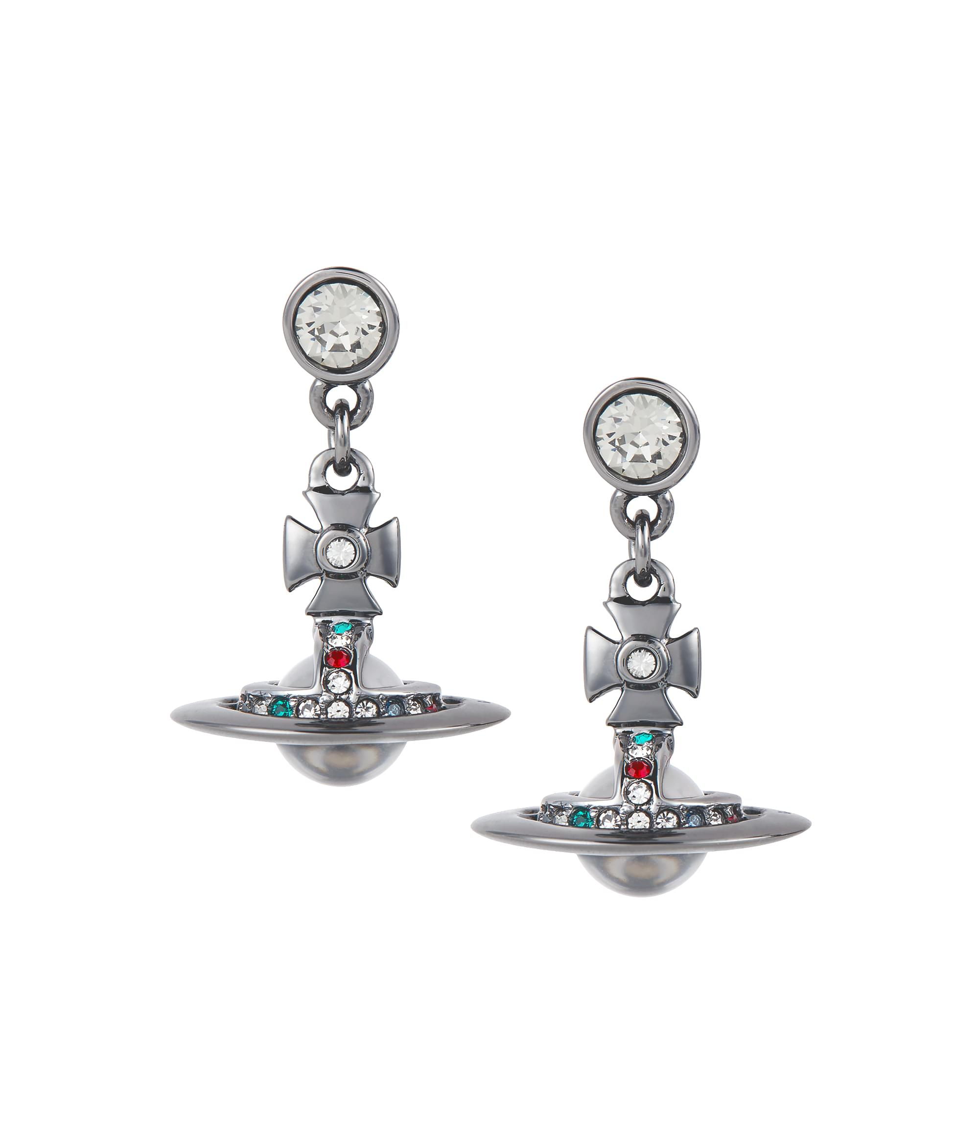 Vivienne Westwood Gunmetal New Petite Orb Earrings