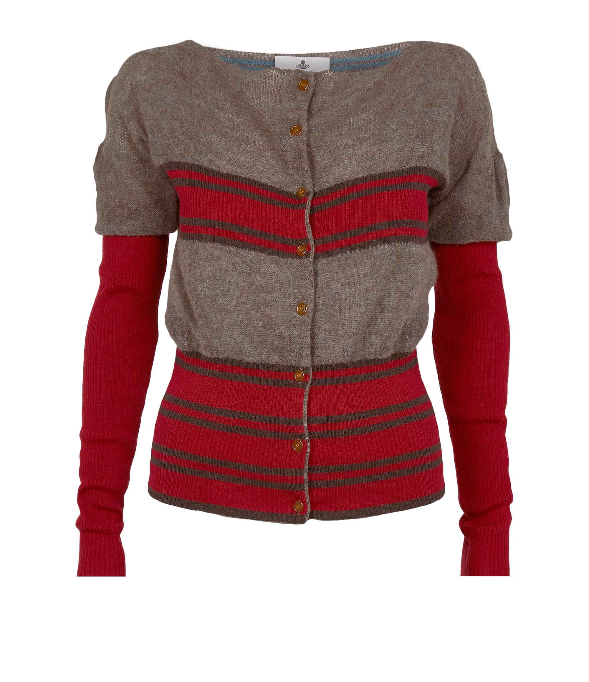 Vivienne Westwood Square Cardigan Red\/Brown Stripes