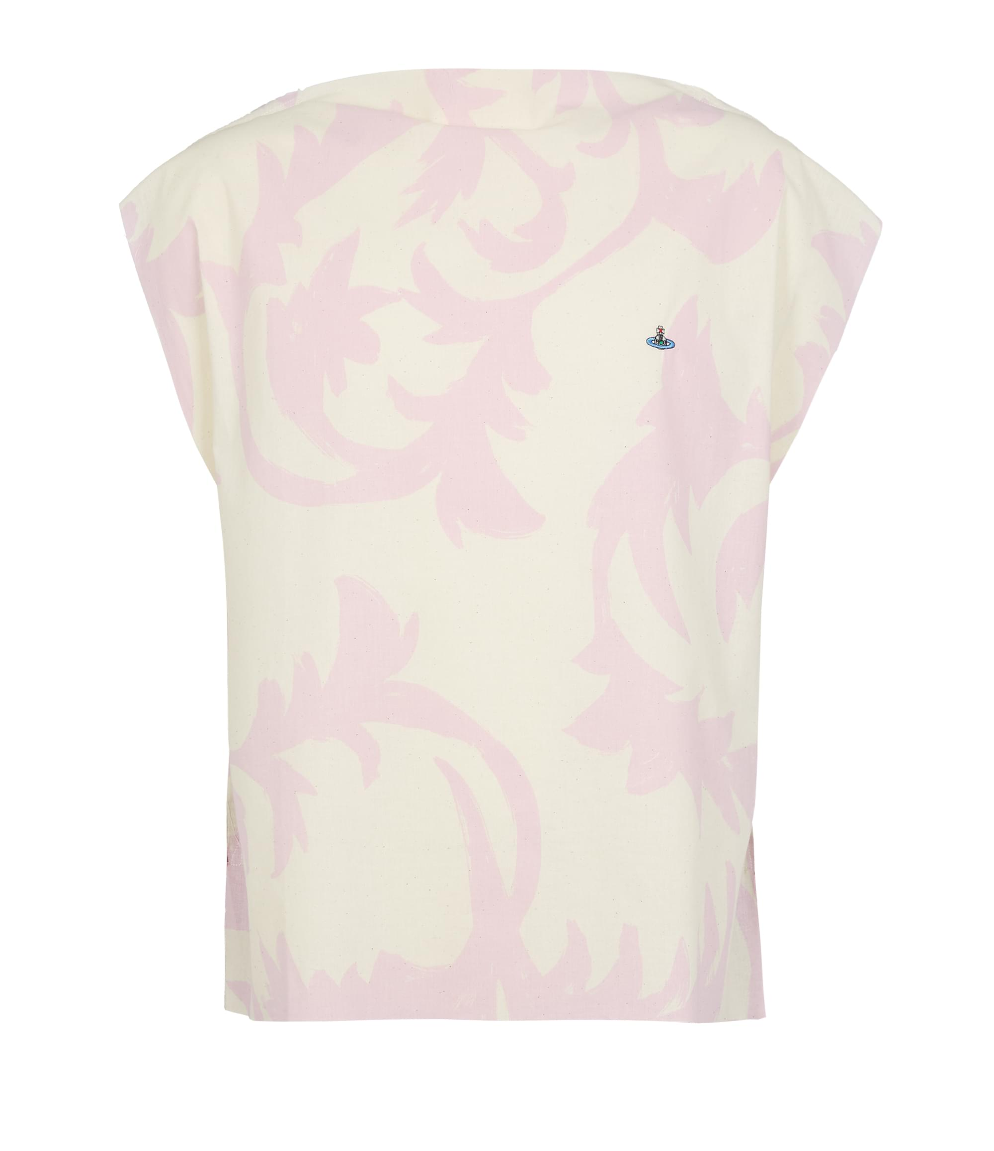Vivienne Westwood Square T-Shirt Pink Leaves\/Tobacco Jersey