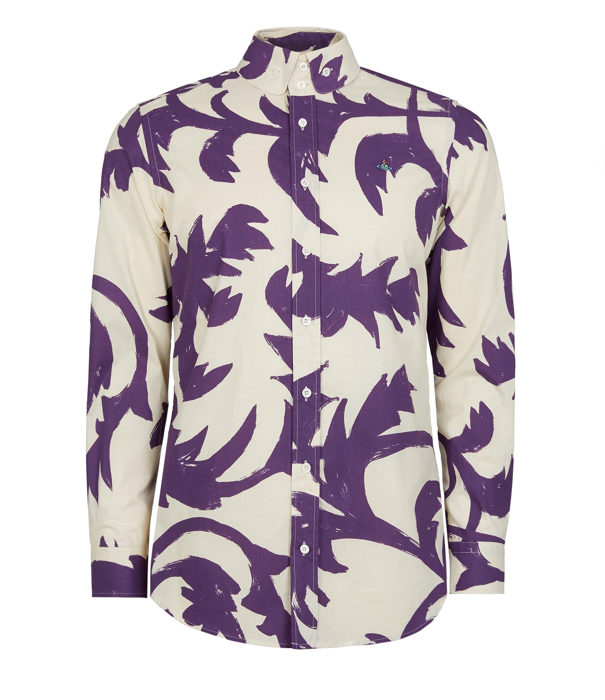 Vivienne Westwood Two Button Krall Shirt Purple Leaves
