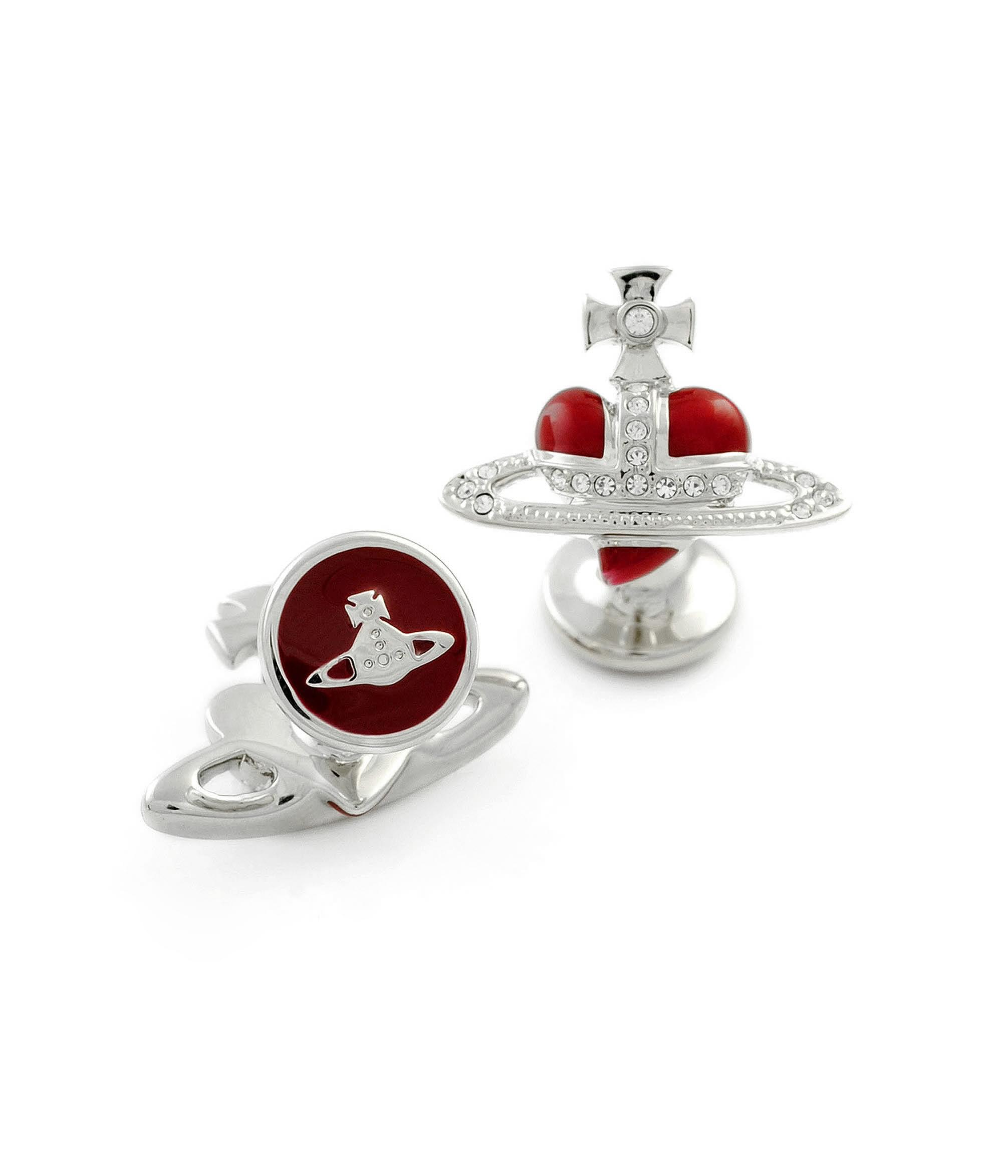 Vivienne Westwood Diamante Heart Cufflinks Red