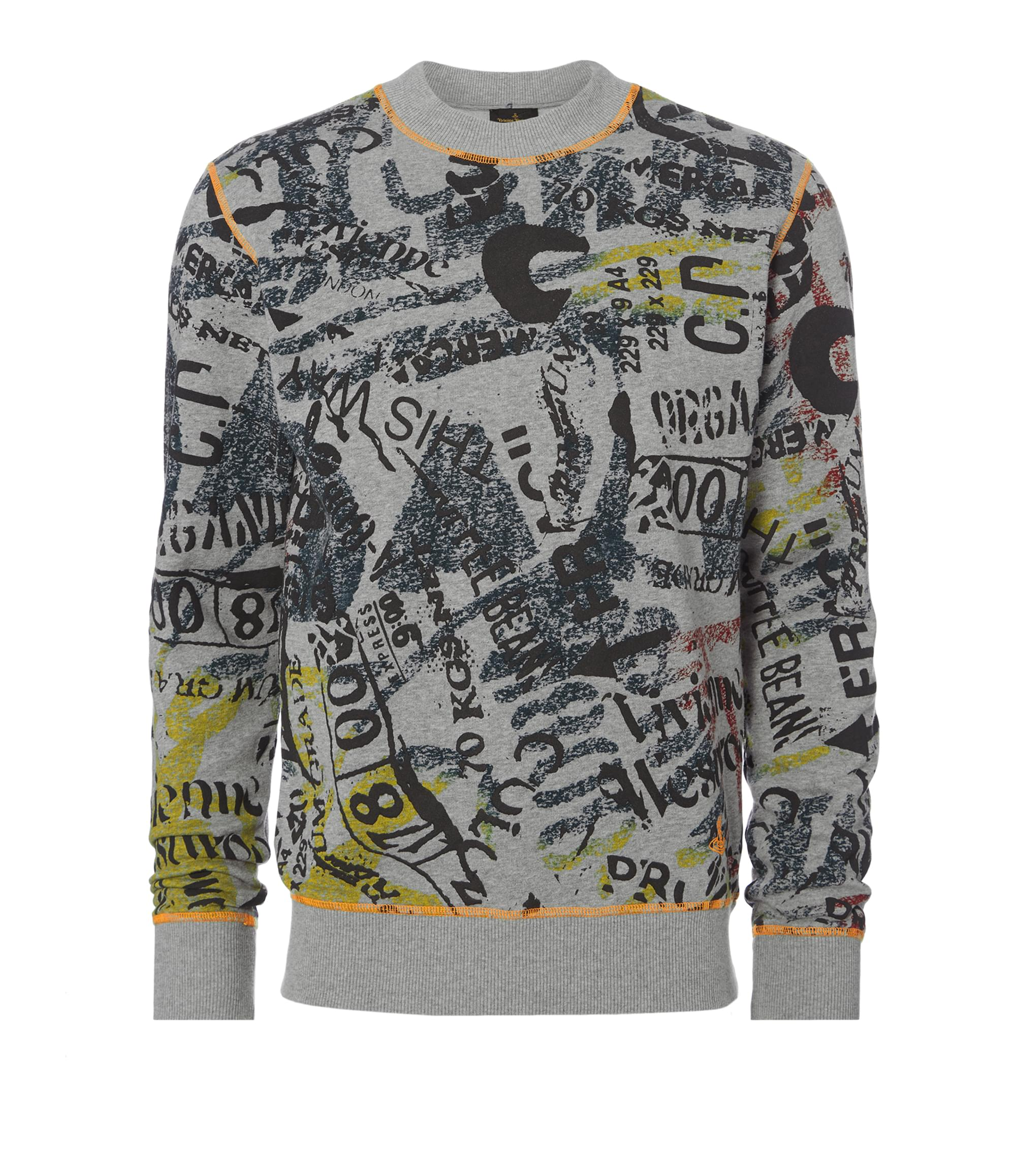 Vivienne Westwood Grey Newspaper Rubbish Sweater