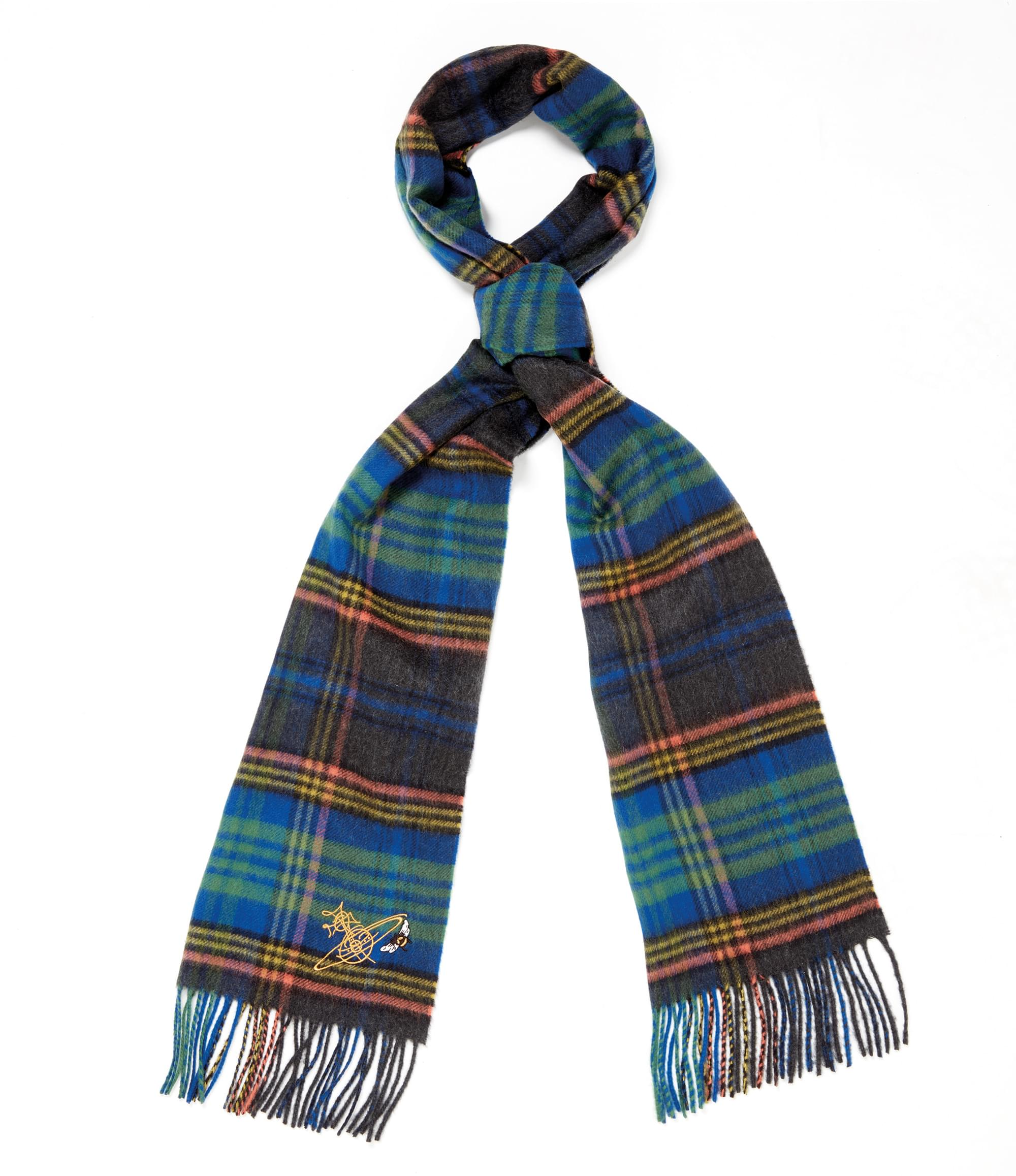 Vivienne Westwood Johnstons of Elgin Blue Tartan Scarf