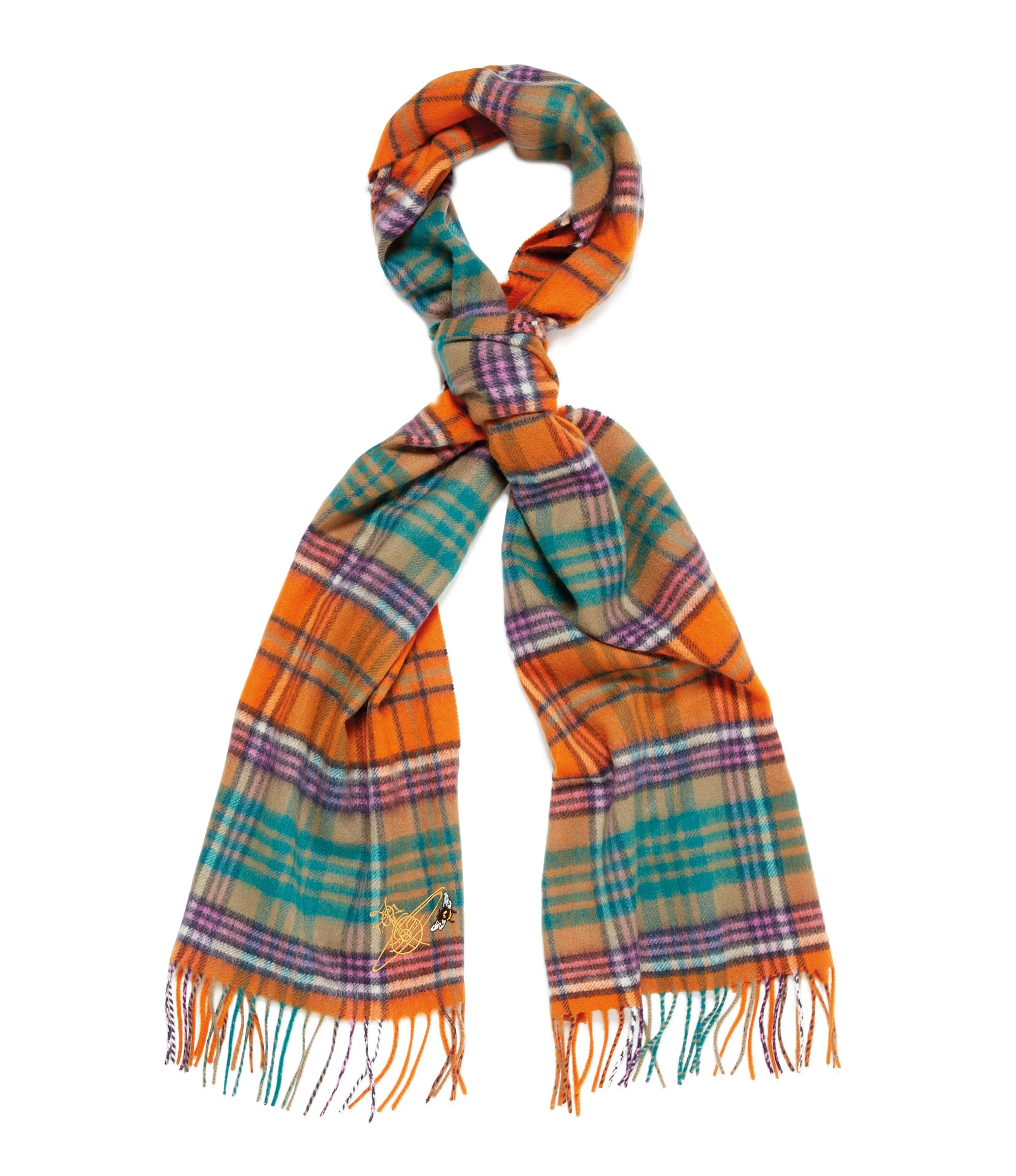 Vivienne Westwood Johnstons of Elgin Orange Tartan Scarf