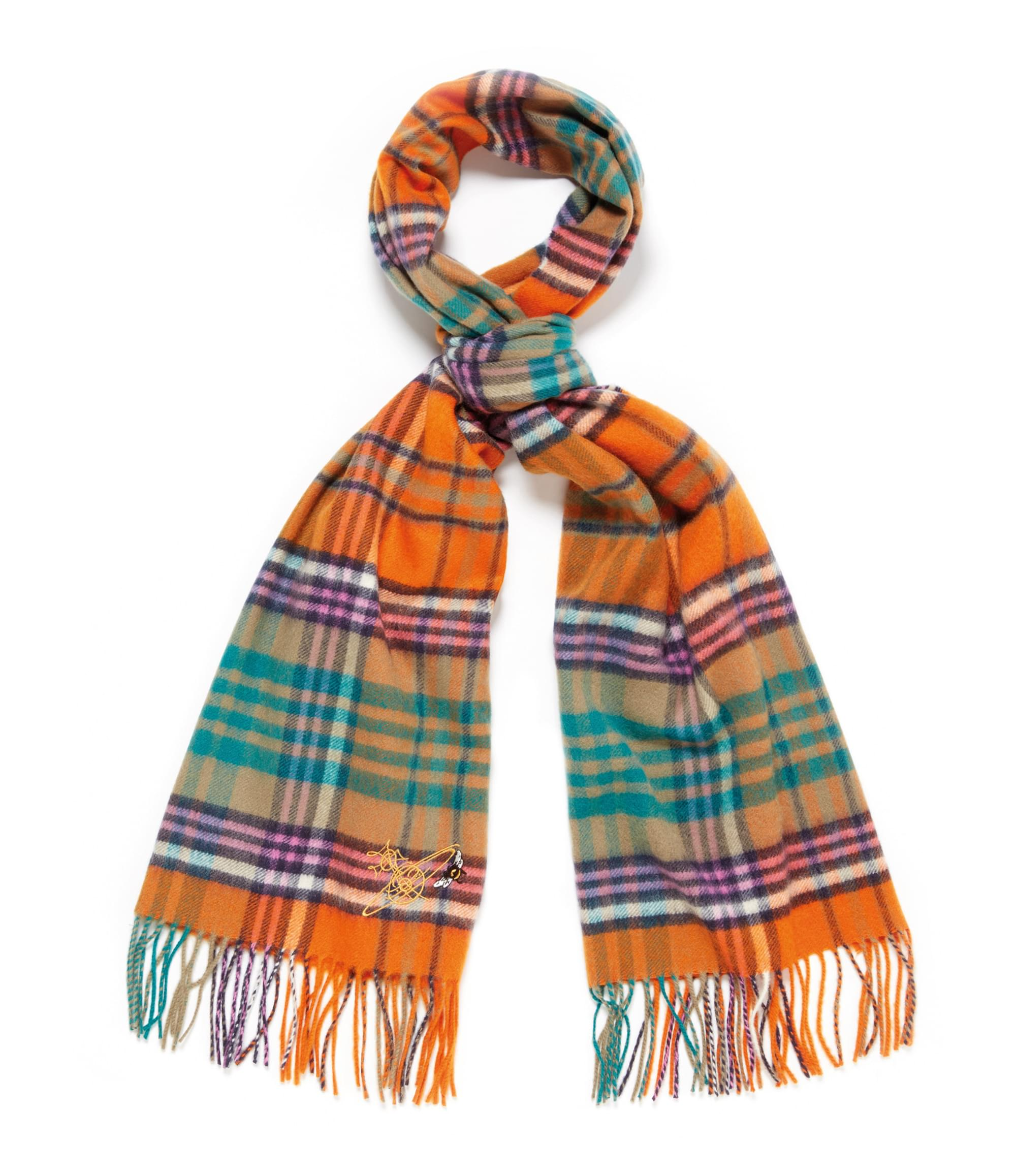 Vivienne Westwood Johnstons of Elgin Wide Orange Tartan Scarf