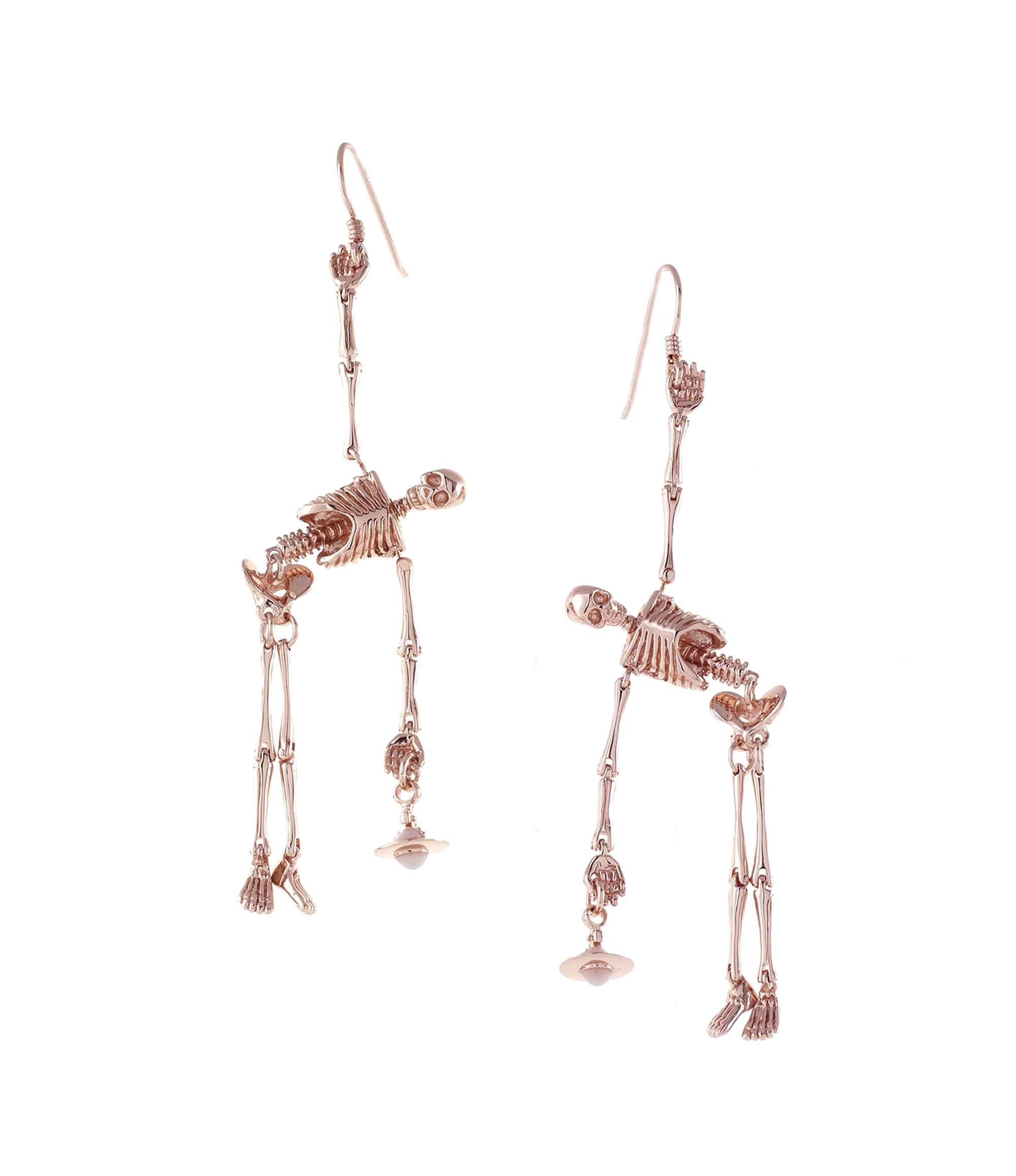 Vivienne Westwood Skeleton Earrings Rose Gold